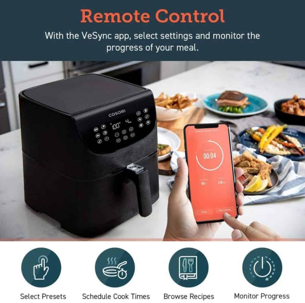 COSORI Smart WiFi Air Fryer 5.8Q  Wifi controls